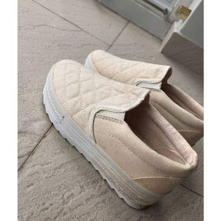 Cream quilt platform wedges sneakers loafers