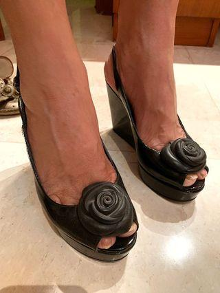 black flower charles & Keith shoes