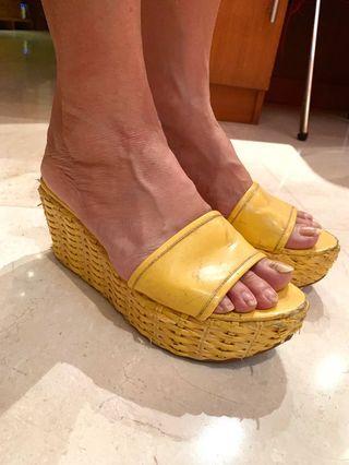 Nine West Yellow Wedges Sandal