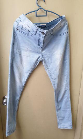 Ajio middle waist light blue jeans