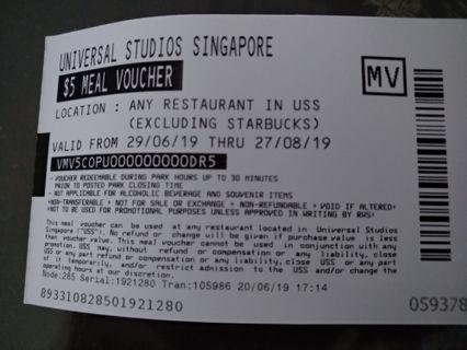 🚚 Universal Studio (USS) S$5 meal vouchers