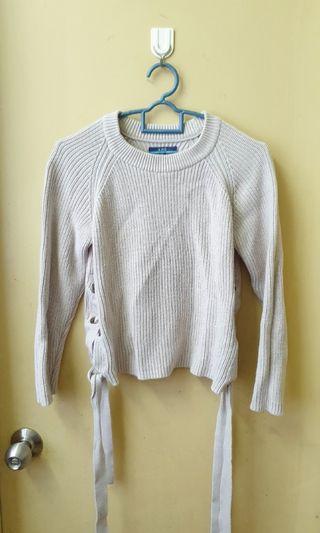 Ajio side ribbon sweater long sleeve Top