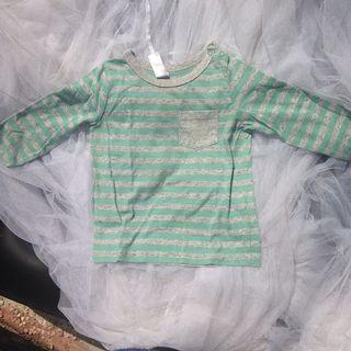 dymples Stripes T-Shirt with Side Neck Button/ Kaos panjang anak