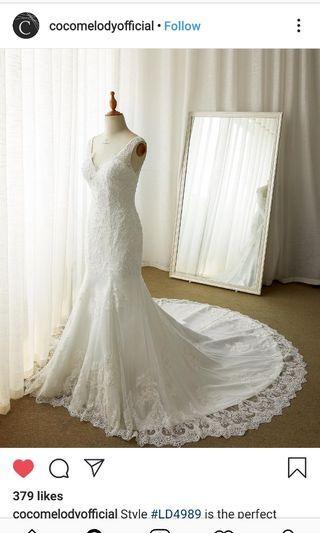 Wedding gown - Chapel train, ivory, beautiful beading