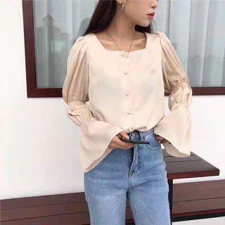 Square neck button up blouse