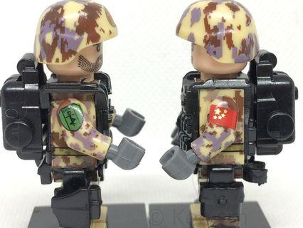 Compatible Lego Minifigures (Not Lego) - PLA Chinese Army Soldiers (6 soldiers and accessories)
