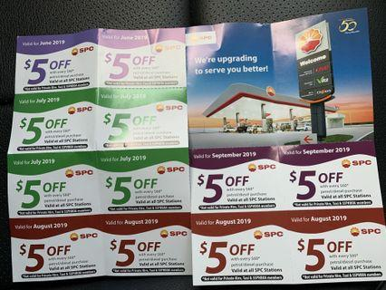 SPC petrol vouchers for July, Aug and Sept