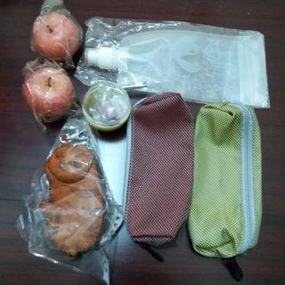 (可換物)貓咪錢包、蘋果裝飾、鬼燈的冷徹水袋、筆袋、餐具袋、蘿蔔扭蛋