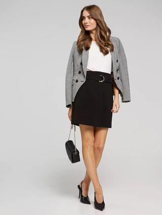 Portmans D-Ring Mini Skirt in Black - Size 8 RRP $90