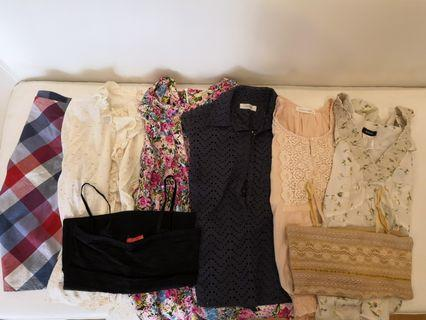 8 blouses (mainly from Japan)