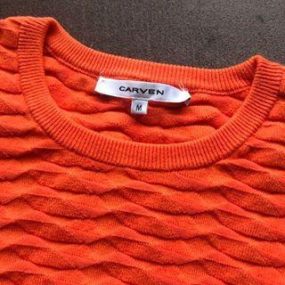 Carven 火焰橘色短針織衫