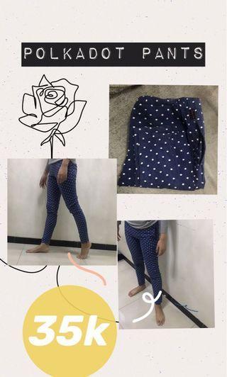 TURUN HARGA POLKADOT PANTS / dots pants navy celana
