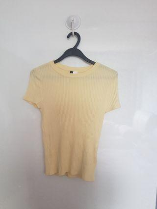H&M Yellow Ribbed T-shirt