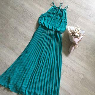 FLASH SALE: TCL Halter Neck Pleated Maxi in Dark Aquamarine