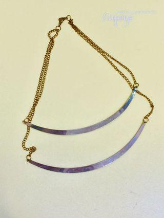 金色簡約質感多層次線條概念項鍊 一般流行飾品