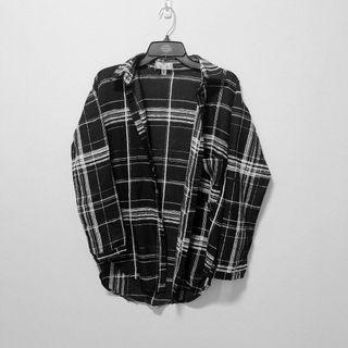 全新🌸QUEEN PUNCH 時尚簡約雪紡黑白格紋襯衫上衣外套