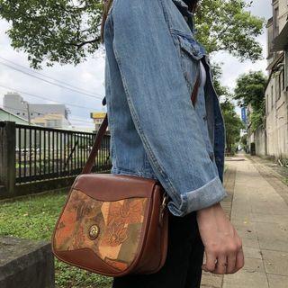 全新品 古著 Vintage 90's De Fanal 牛皮古董包 側背包 印花 Genuine Leather