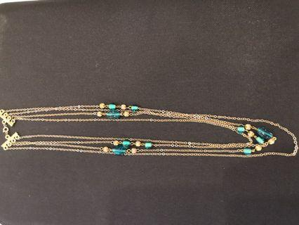 Gold and Emerald Green Beads necklace