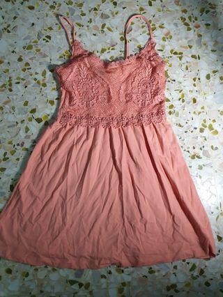 Pamie Crochet Dress in Peach