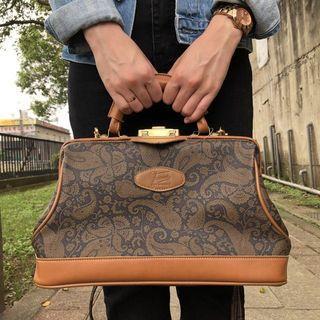 古著 Vintage 80's Jerien 牛皮古董包 側背包 手提包 附鑰匙 法國製