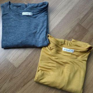 Cotton On Yellow & Grey Cropped Long Sleeve Tops