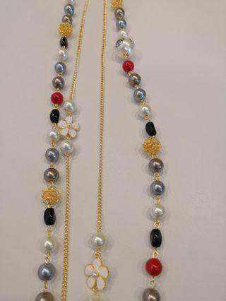 Chanel inspired long pearl necklace