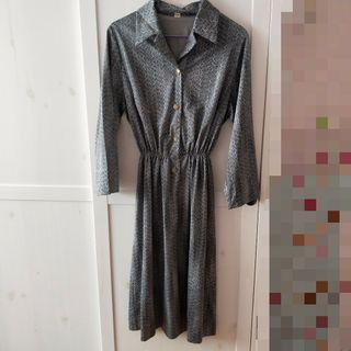 🚚 bn vintage grey patterned dress [C]