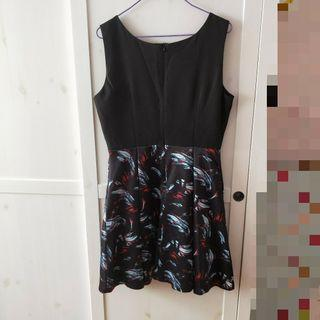 bn sleeveless black feather dress formal [C]