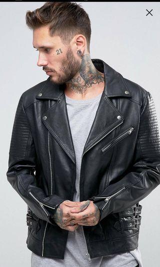 全新真皮夾克!發胖沒穿到的,搖滾騎士真皮夾克XXs