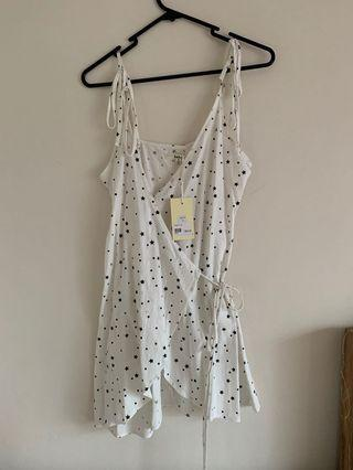 White star wrap dress