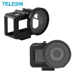 TELESIN Aluminium Alloy Frame Cage Housing Case with 52mm UV Filter Lens Cover And Hot Shoe For DJI Osmo Action Camera