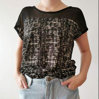 Black Mesh and Print Top