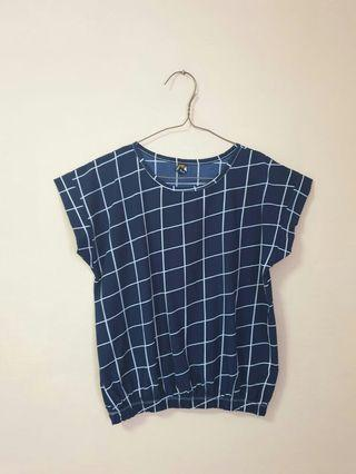 (3 for $10) Checkered Crop Top blue