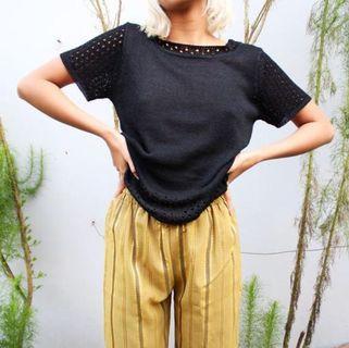 Kaos Rajut Hitam   Black Knitted T-shirt