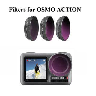 Telesin ND4/PL ND8/PL ND16/PL filter kit for DJI OSMO ACTION Camera