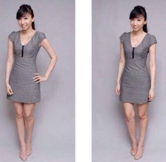 🚚 Hervelvetvase Tweed Work Dress in Grey