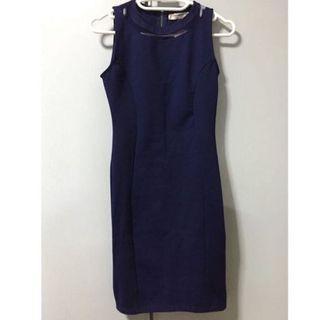 🚚 Pull & Bear Mesh Shift Dress in Navy Blue