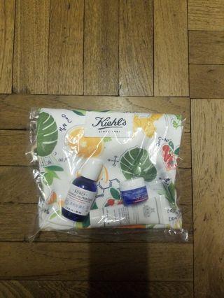 100%new Kiehls travel bag + Ultra facial oil free toner 40ml, gel cream 7ml, Brightening exfoliating daily cleanser 30ml