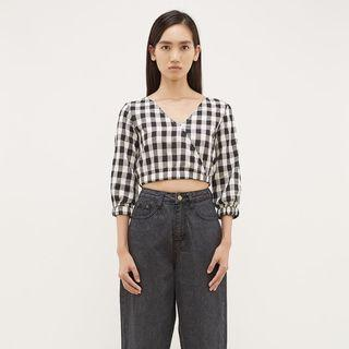 The Editors Market Kaiya V Neck Crop Top