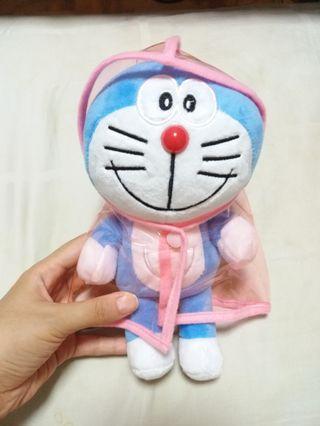 Doraemon wear Pink Raincoat plush