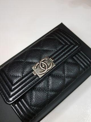 Authentic Chanel Boy cardholder