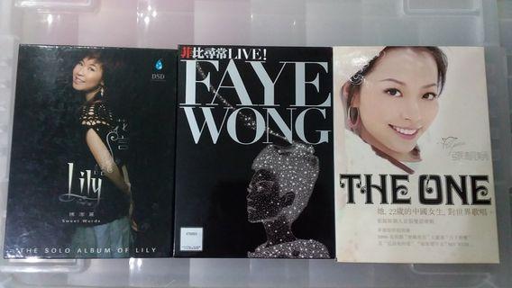 陳潔麗花言巧語CD, 王菲菲比尋常 LIVE SACD,張靚穎THE ONE CD+VCD