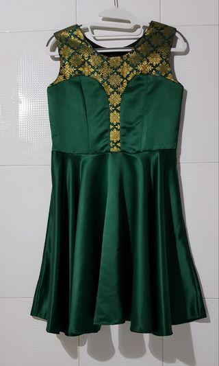 Emerald Green Songket Batik Mini Dress