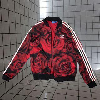 超潮復古風 adidas 紅色玫瑰運動外套 / rose track jacket / size xs