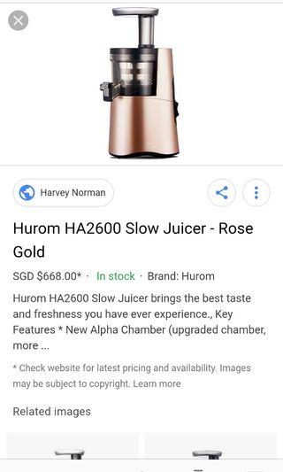 Hurom slow juicer HA-2600