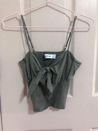 🚚 The Editor's Market Crop Strappy Green Top