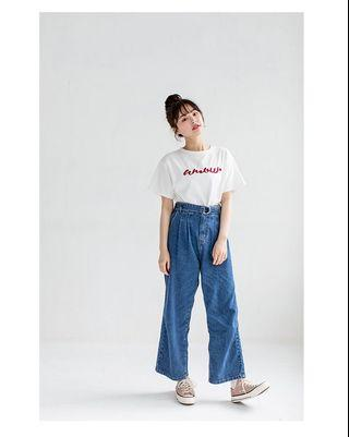 Amour embroidery slogan oversized short sleeve tee in white