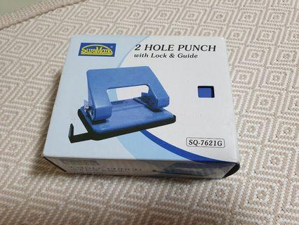 🚚 Suremark 2 Hole Puncher with Lock & Guide - Blue Colour