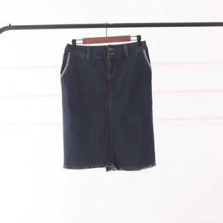 全新彈性 薄料牛仔裙 ( X-XL )