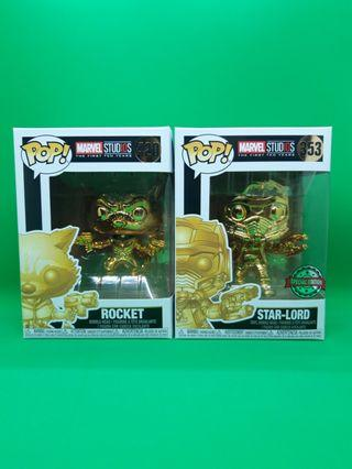 Funko Pop! Rocket and Star-Lord MS10 Gold Chromes